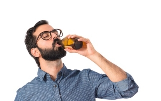 Drunk person drinking beer