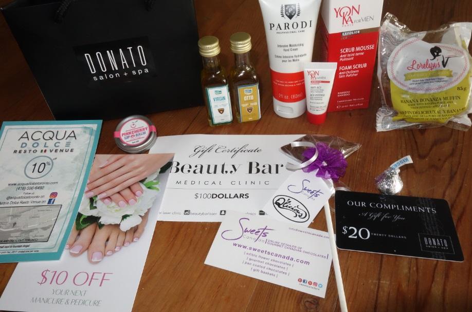 Gift bag contents - Donato spa