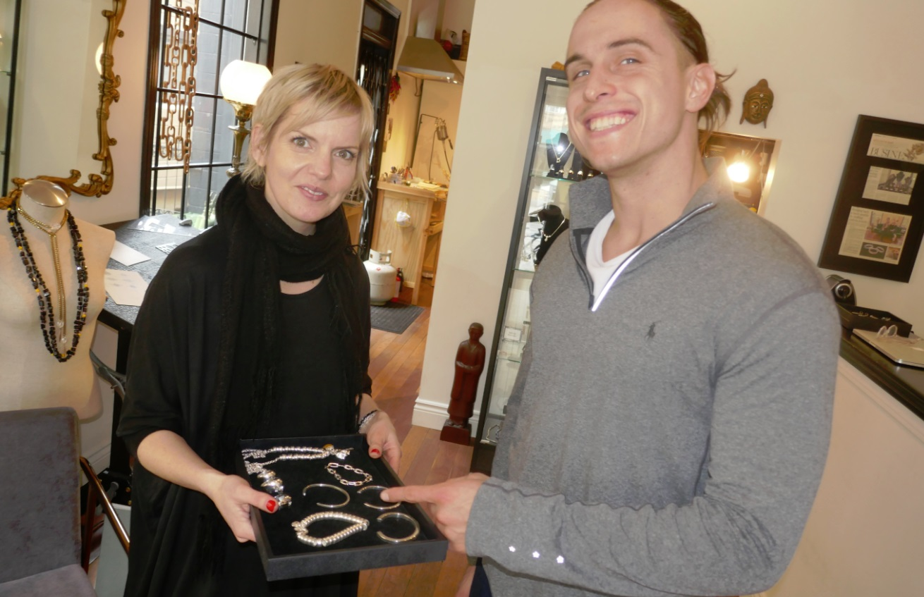 Martin gets silver ornaments from On the Other Hand custom jewellery Toronto