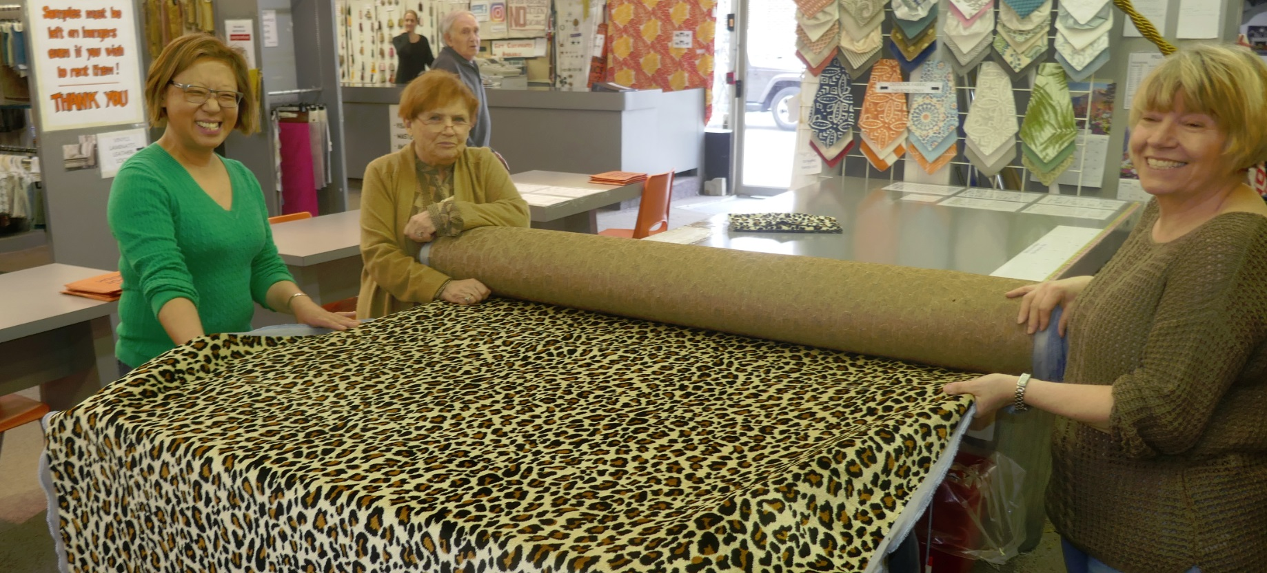 buying leopard print textile at Designer Fabric in Toronto