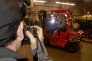 Laura on forklift