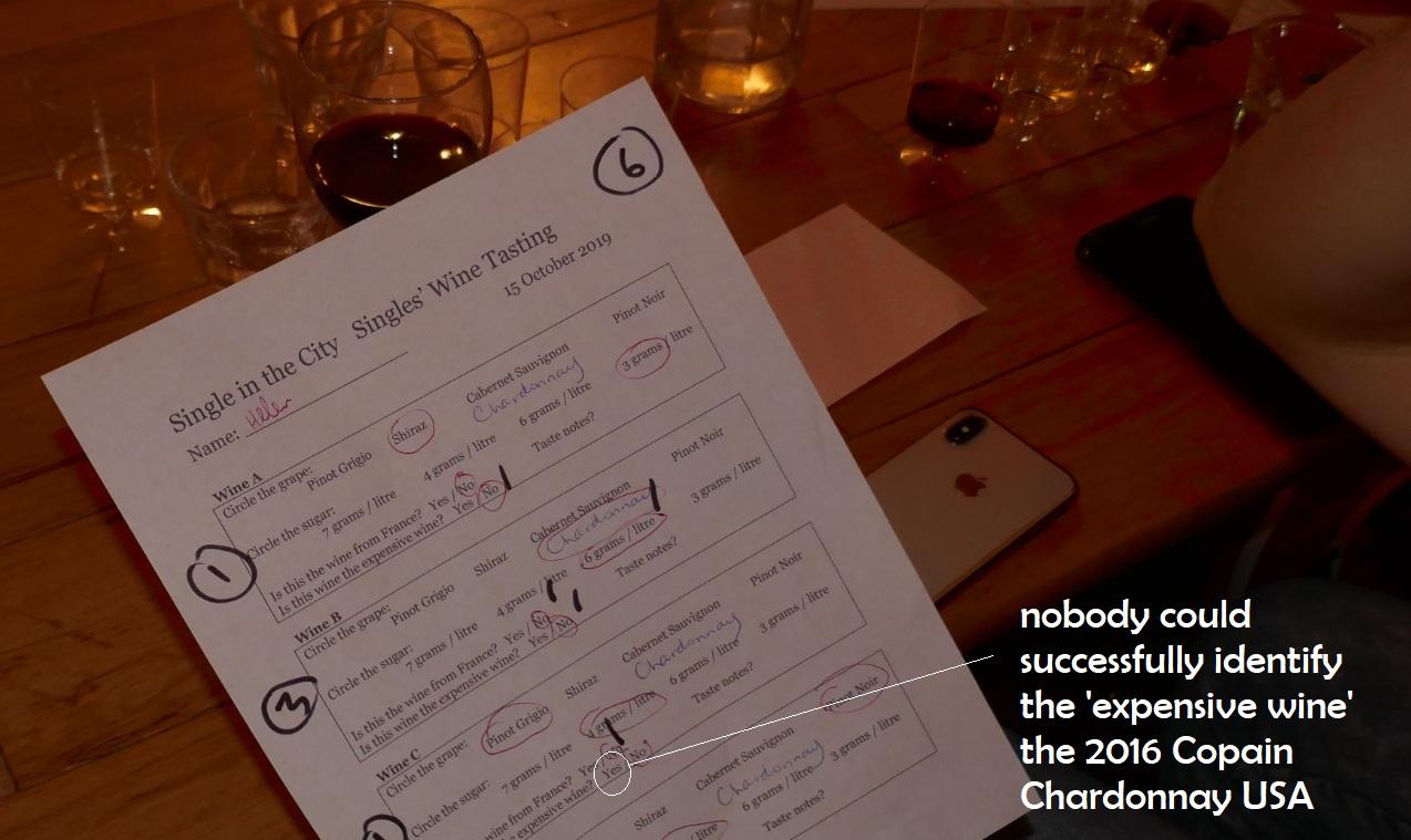 wine tasting score card, single wine taste challenge